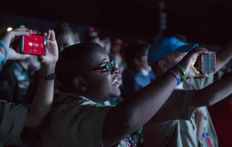 Julian Staley, 17, Life Scout, from Indian Waters Council during the Farewell Show of the the 2017 National Scout Jamboree at the Summit Bechtel Reserve on Thursday, July 27,2017. (Photo by Tom Copeland)