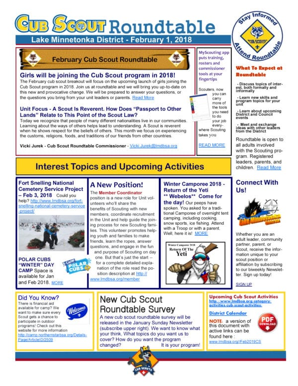 new cub scout roundtable newsletter for february 1 2018 lake minnetonka district bsa. Black Bedroom Furniture Sets. Home Design Ideas