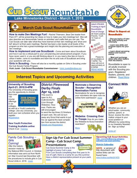 cub scout roundtable newsletter for march 1 2018 lake minnetonka district bsa. Black Bedroom Furniture Sets. Home Design Ideas